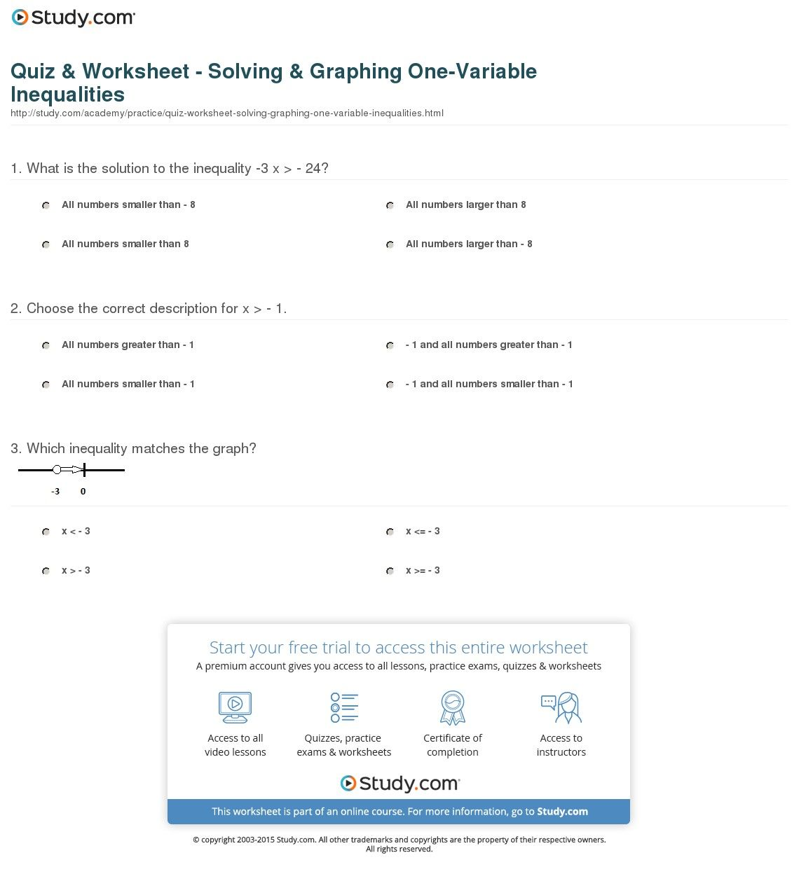 Quiz Worksheet Solving Graphing One Variable Inequalities