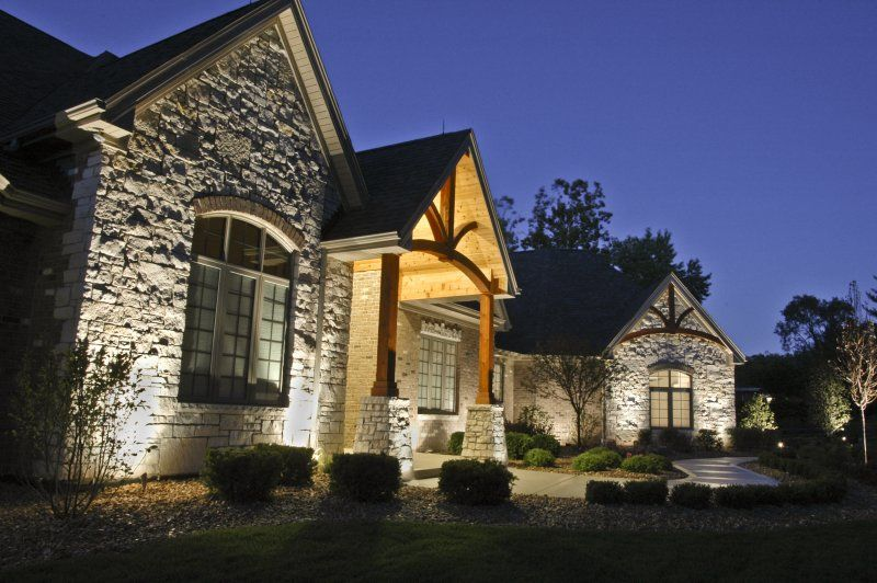 Delightful House Ground Lighting L Outdoor Accents Lighting. Up Lights Against Stone