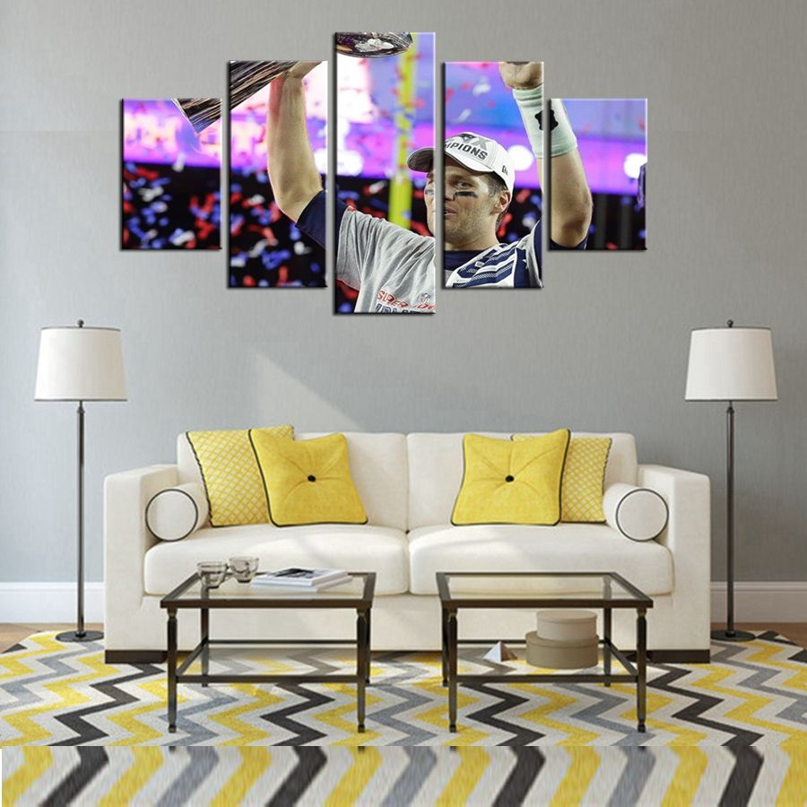 Dallas Cowboys Baseball Wall Art Oil Painting Canvas For Living Room Decor  5 Pcs/Set
