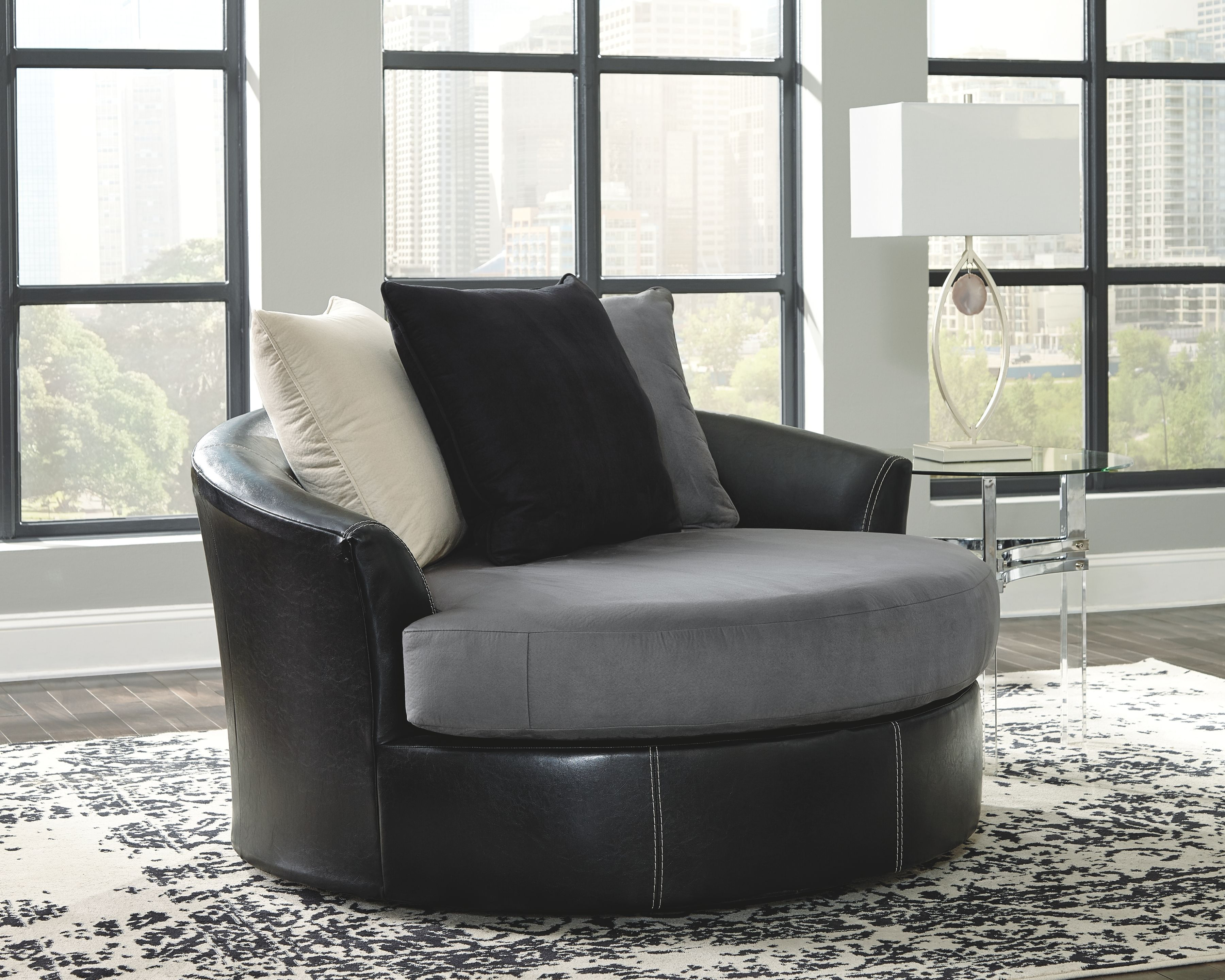 Jacurso Charcoal Oversized Swivel Accent Chair With Images