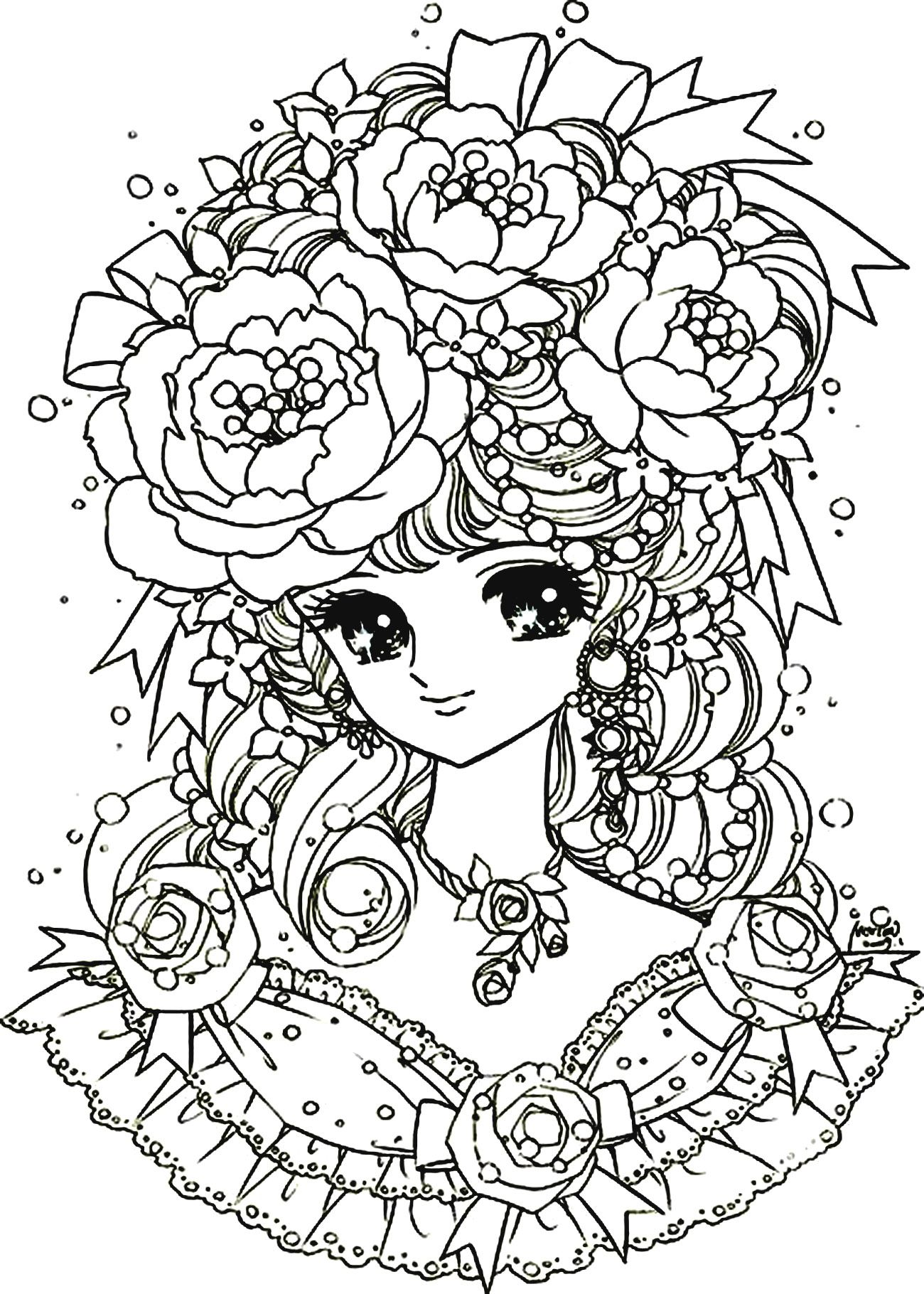 Elegant Manga girl, with a beautiful flowered headdress, From the ...