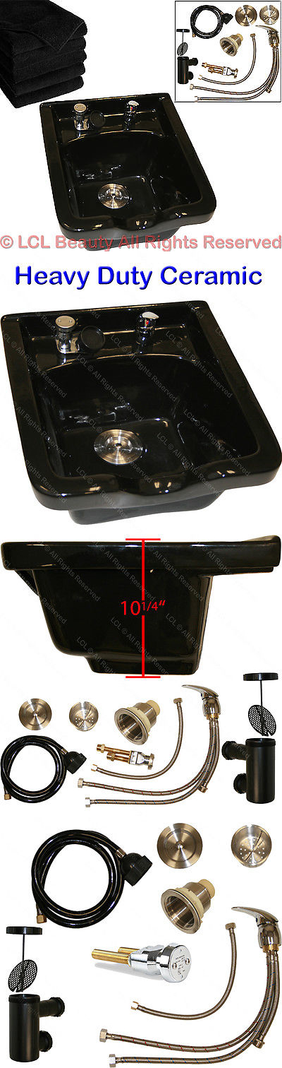 Backwash Units and Shampoo Bowls: Black Ceramic Shampoo Bowl Sink ...