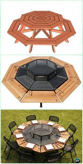 Diy Jag Style Octagon Grill Picnic Table Instruction Diy Backyard Grill Projects Backyard Bbq Grill Diy Picnic Table Backyard Grilling