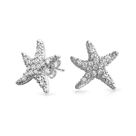 Star Stud Earrings, 925 Sterling Silver Pave Crystal Cubic Zirconia Starfish Earrings Graduation Gift for Friendship