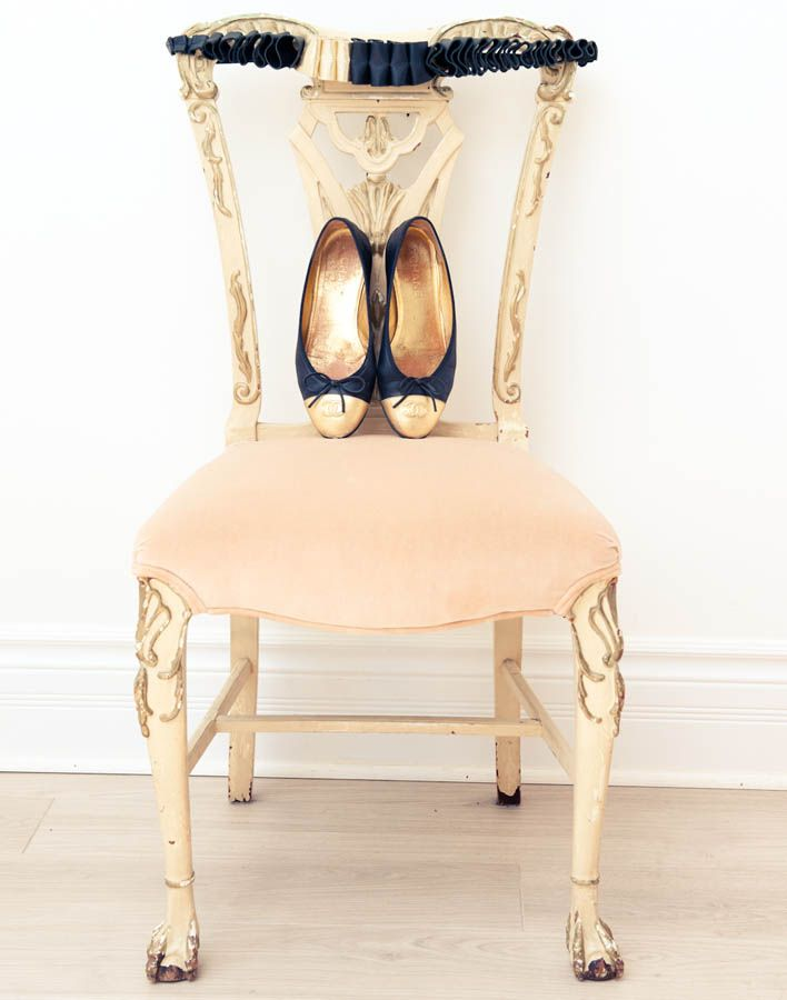 navy and gold flats - antique peach chair | branding inspiration