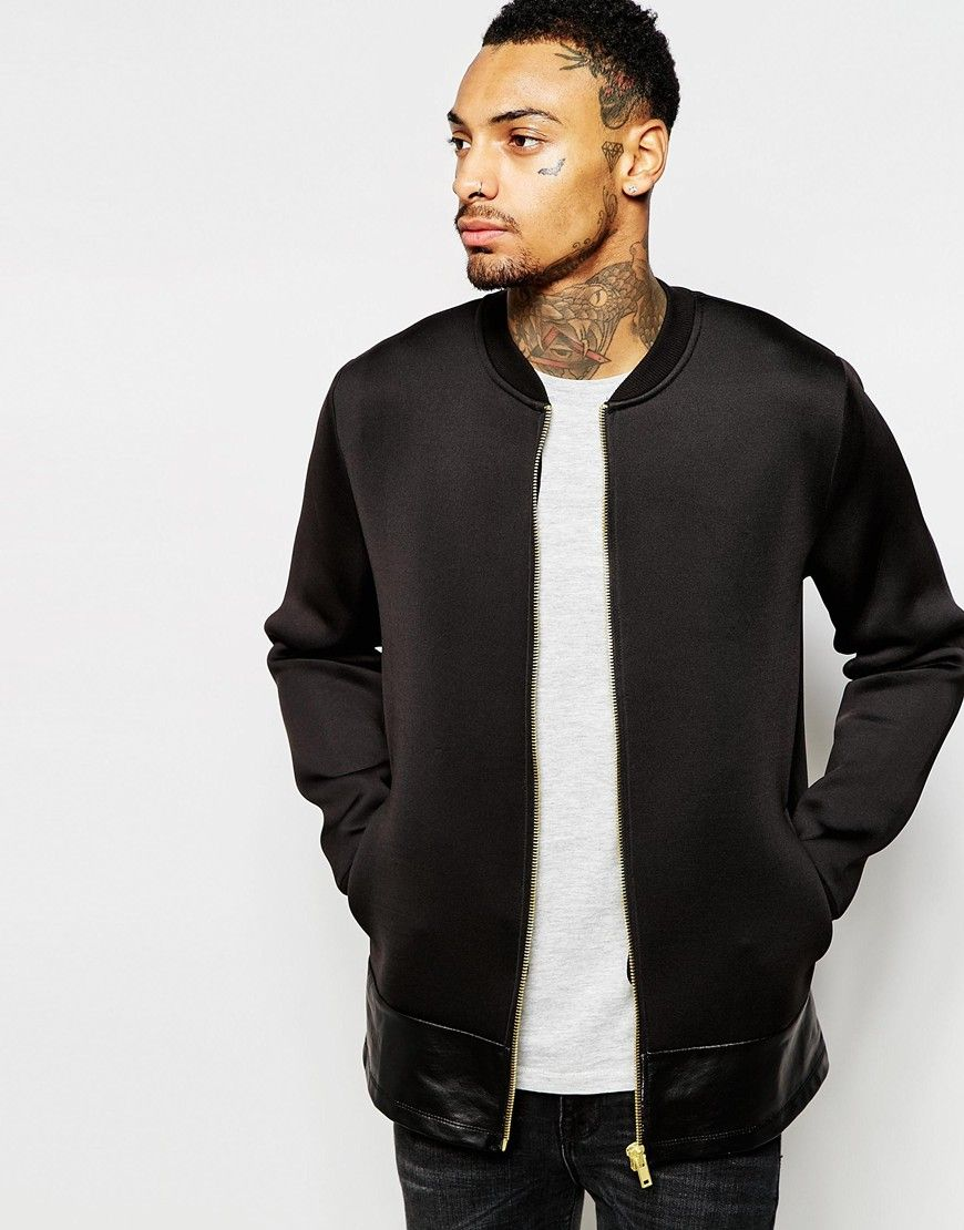 ASOS Scuba Bomber Jacket With Faux Leather Hem at asos.com