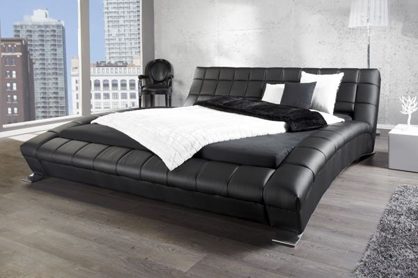 designer doppelbett soho 180x200cm schwarz napalon leder. Black Bedroom Furniture Sets. Home Design Ideas