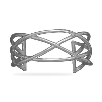 C-22991--Rhodium Plated Weave Cuff Rhodium plated sterling silver open design weave look cuff bracelet.Bracelet width is 29mm.   .925 Sterling Silver