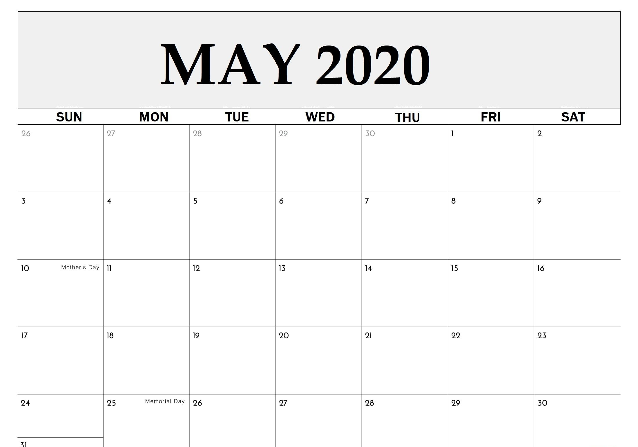 Free Printable May 2020 Calendar With Holidays Templates In 2020