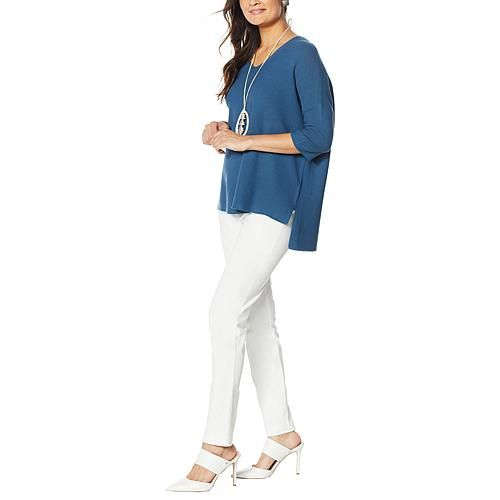 MarlaWynne Link Stitch V-Neck Pullover Sweater Find your sweater for the season in this beautiful knit. The easy design and flattering neck mean you'll find endless opportunity to wear it.