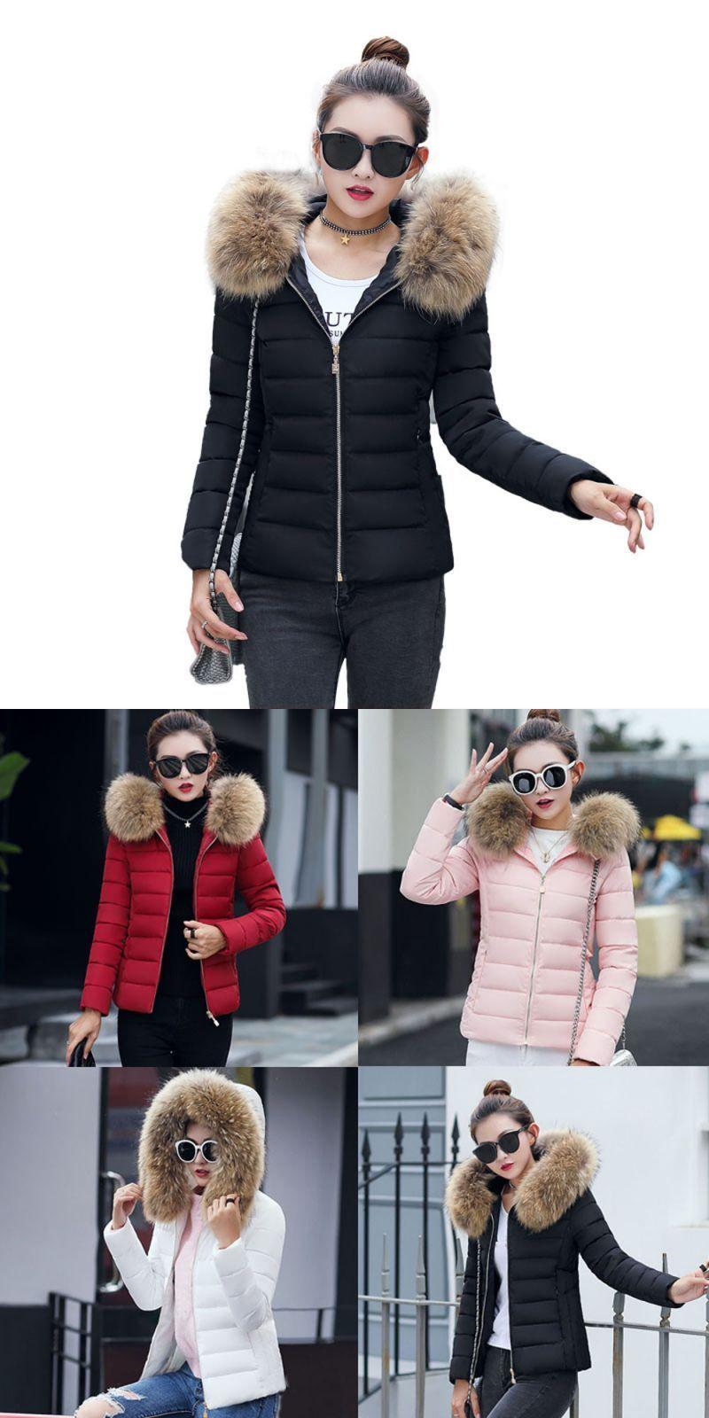 b7afffe824c Women warm winter jackets fashion hooded fur collar parka down cotton coat  womens solid slim large size female down coats  women  full  standard   casual ...