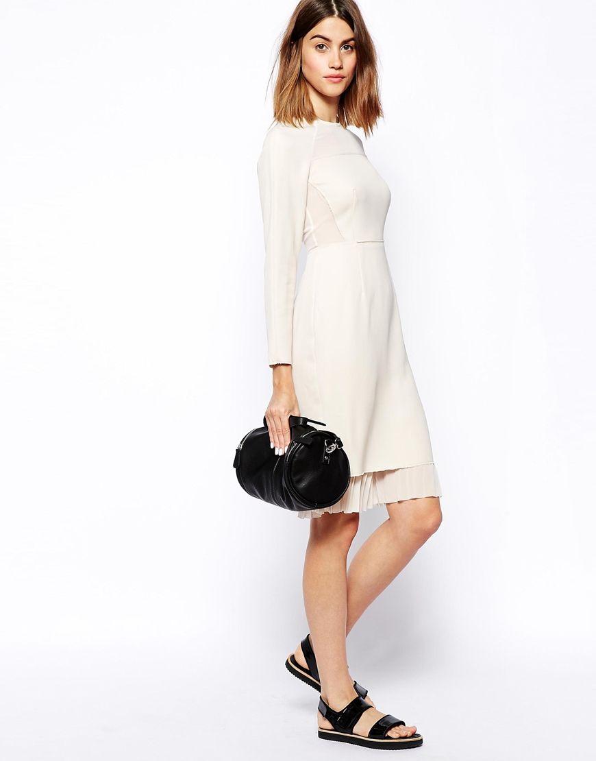 ec70e4aa9da ASOS WHITE Long Sleeve Panel Shift Dress http   asos.to 1mB26yi
