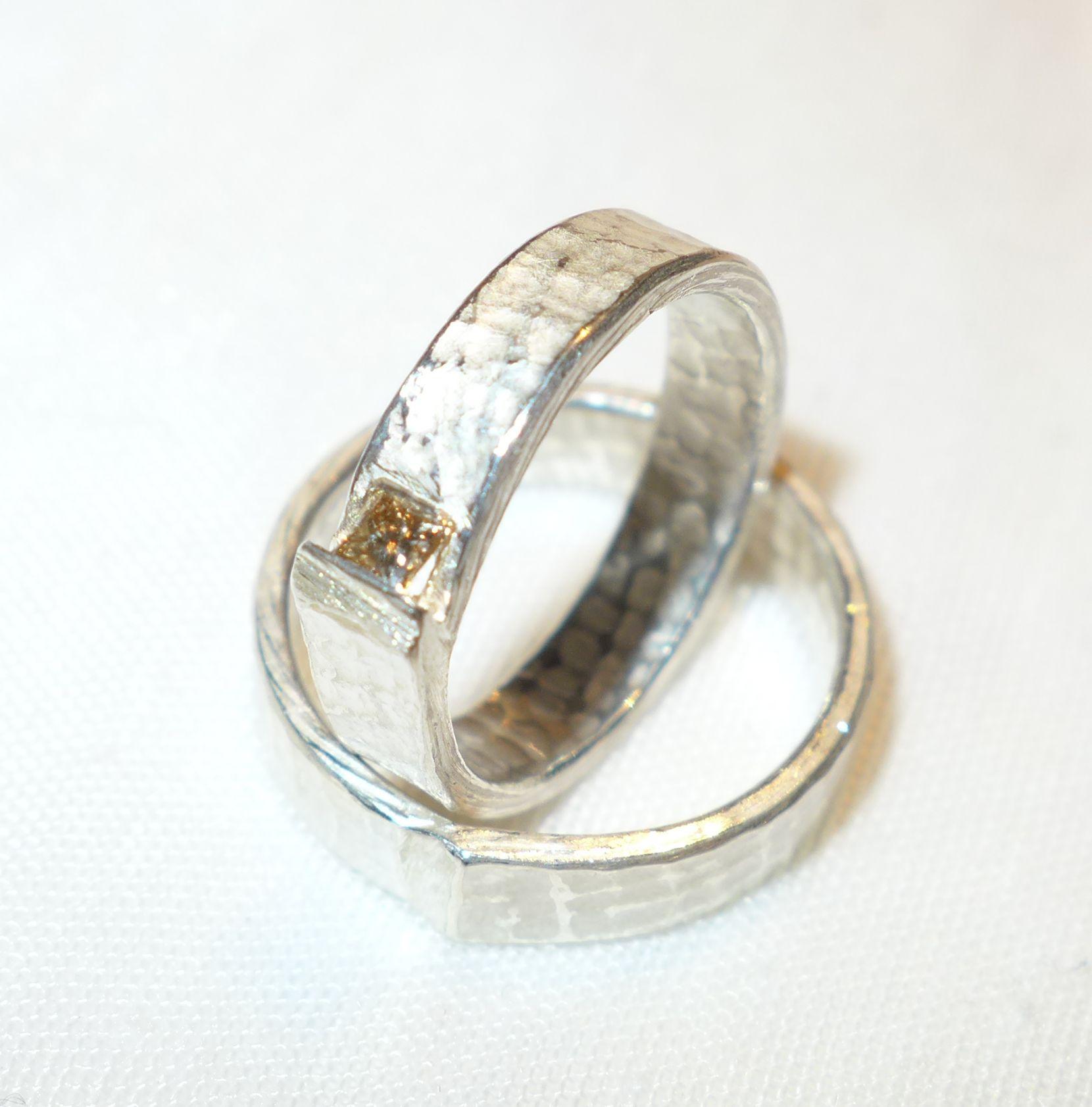 Customized wedding bands with diamond square Custom wedding bands