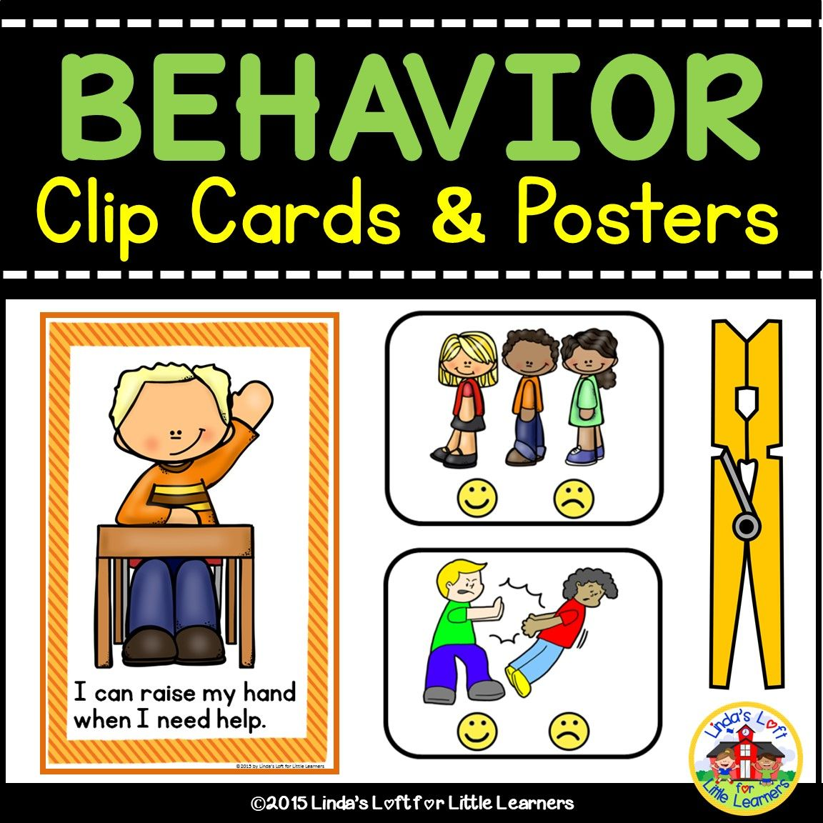 Beginning Of School Behavior Clip Cards And Posters