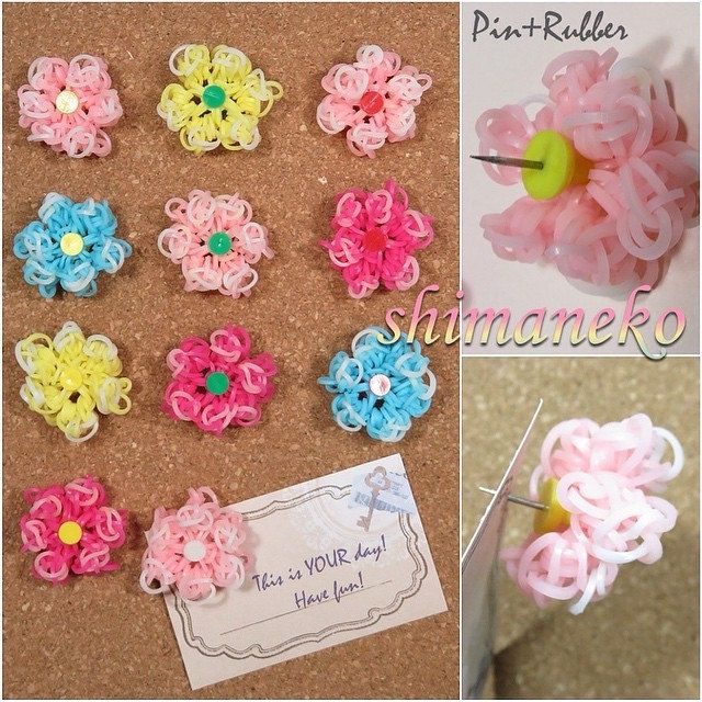 Candy Color flower buttons Rainbow Loom Rubber Band Accessory Craft Sewing Charm