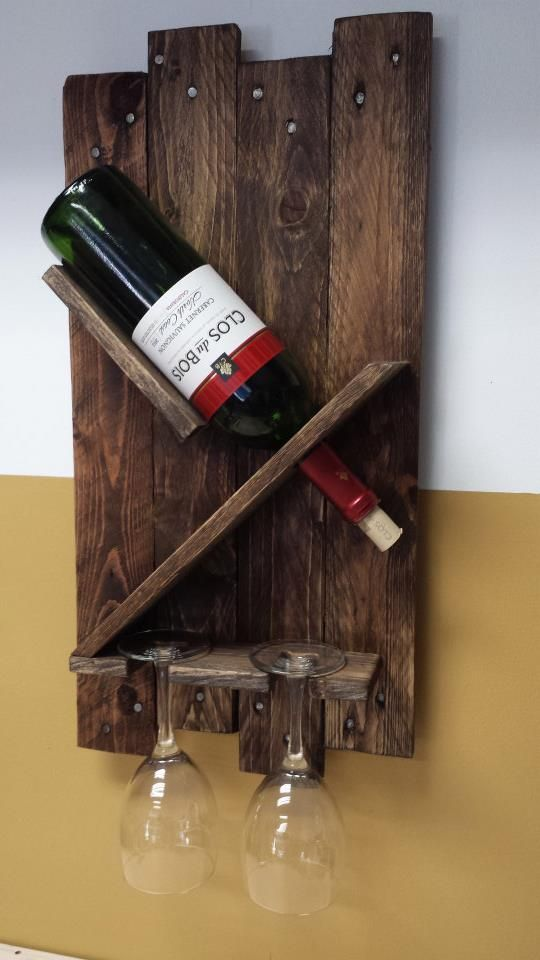 2 Glass Wine Rack Made From Pallet Wood Artesanato Adega Projetos