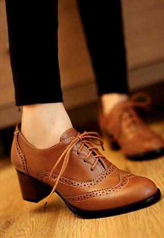 0d06434a66 New Womens Brogue Lace Up Low Thick Heel Oxfords Retro Boat Shoes US ...