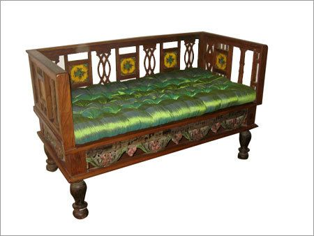 Antique Wooden Sofa With Traditional Indian Finish And Hand Painted Designs Wooden Sofa Wooden Sofa Designs House Furniture Design