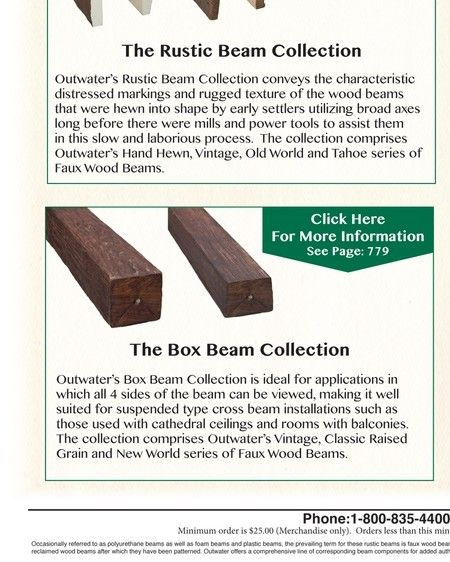 Faux Wood Beams | Outwater M12 Page 770B