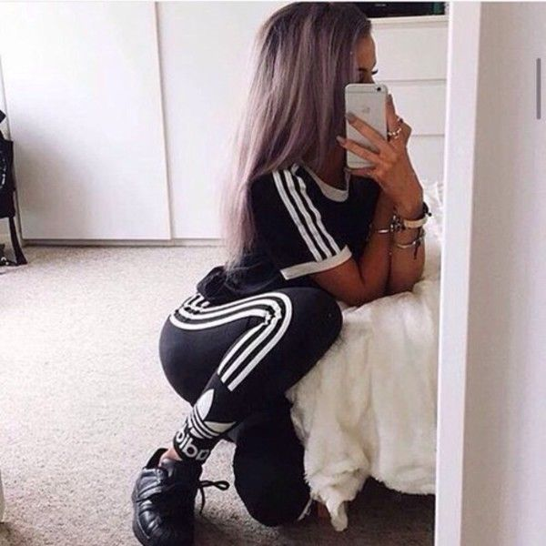 t-shirt adidas top adidas bottom shoes black with white stripes