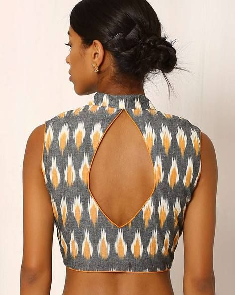 d11424fe8a0d99 Buy Grey   Orange Indie Picks Handwoven Ikat Sleeveless Cotton Blouse