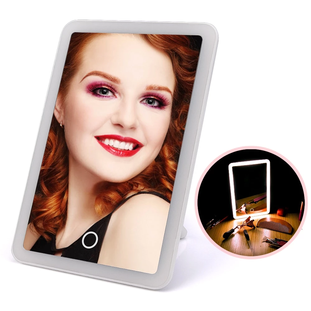 Rechargeable LED Touch Screen Makeup Mirror Cosmetic