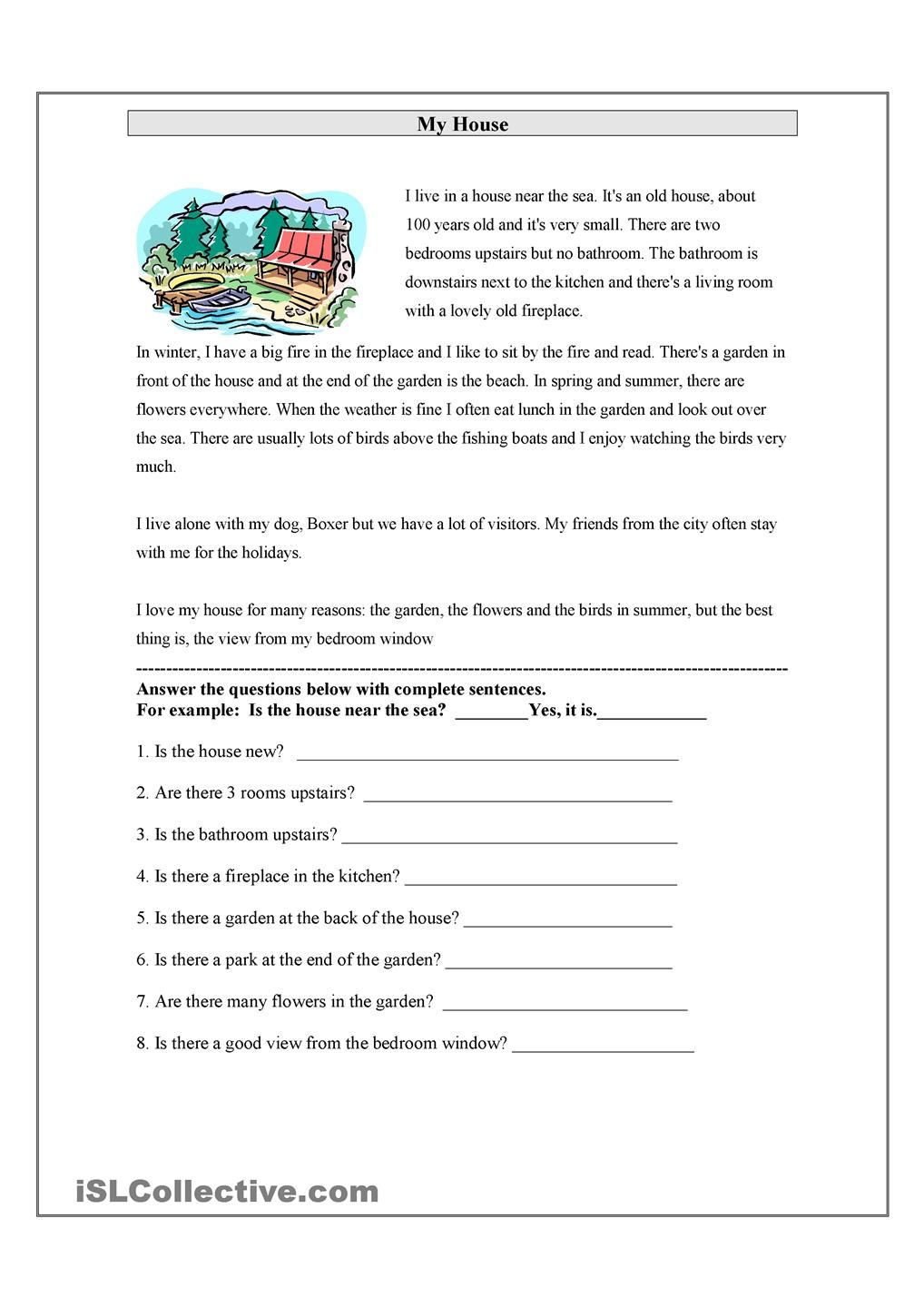 My House Reading Comprehension Worksheets First Grade Reading Comprehension Reading Worksheets [ 1440 x 1018 Pixel ]