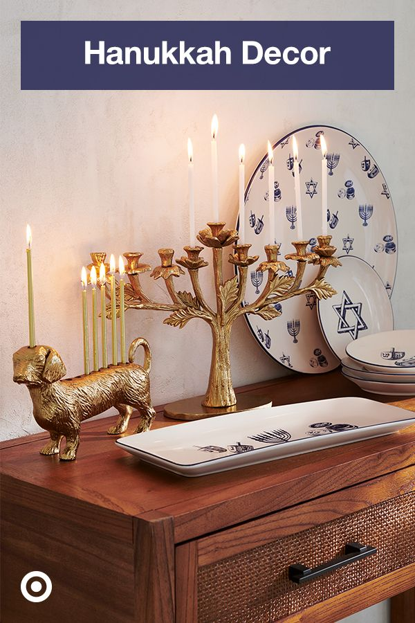 Prep for the festival of lights with stylish Hanukkah decor, from candles & a menorah to table settings for cozy holiday gatherings.