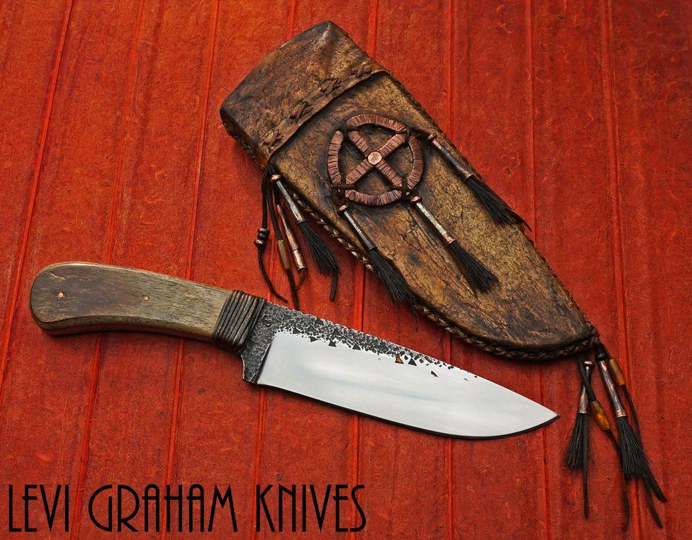 Mammoth Bone Belt Knife Belt Knife Knife Medicine Wheel
