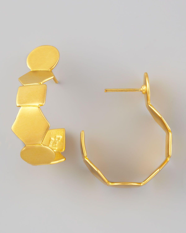 Dina Mackney Geometric Gold Vermeil Hoop Earrings JlHMjtLgW