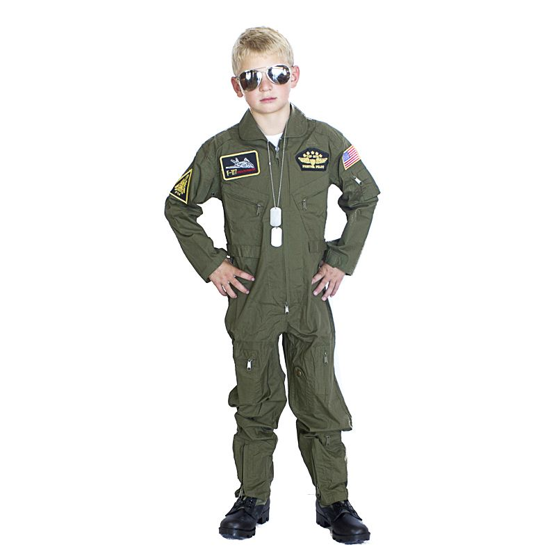 kids armycom top gun flight suit costume olive 4999 - Boys Army Halloween Costumes