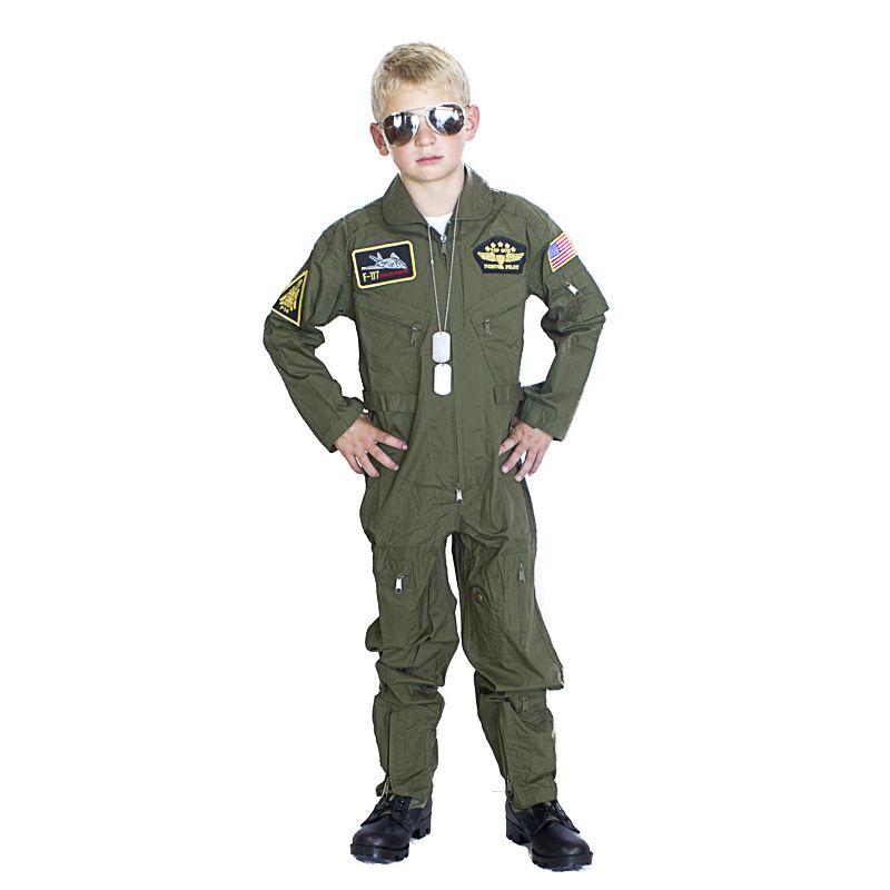 kids armycom top gun flight suit costume olive 4999 - Boys Army Halloween Costumes