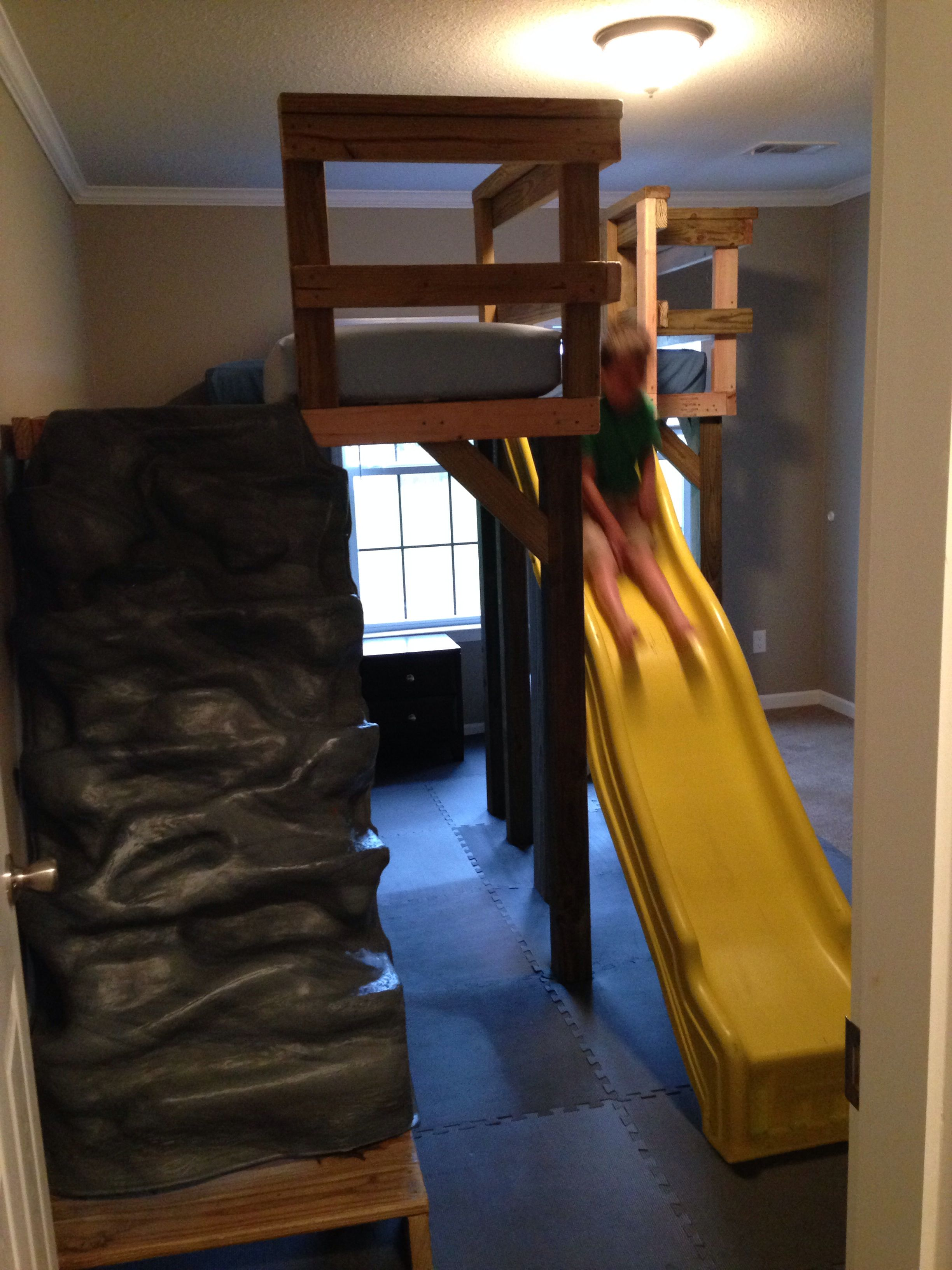 L shaped loft bed with slide and rock wall ;)) Bed with