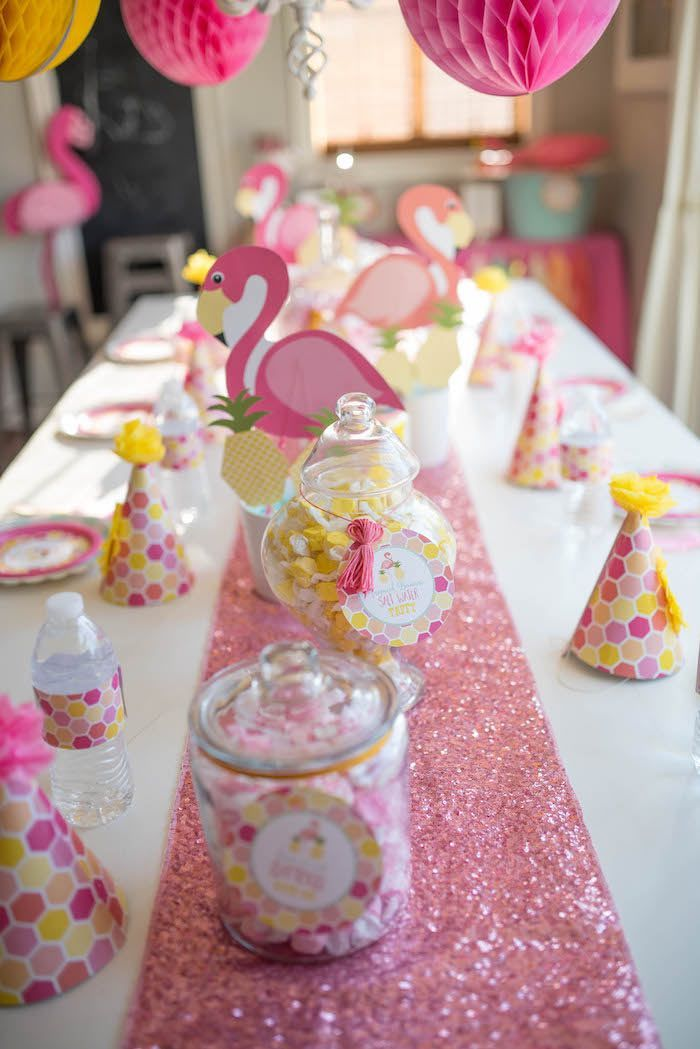 Flamingo pink and yellow party table from Flamingo + Flamingle Pineapple Party at Kara's Party Ideas. See more at karaspartyideas.com!