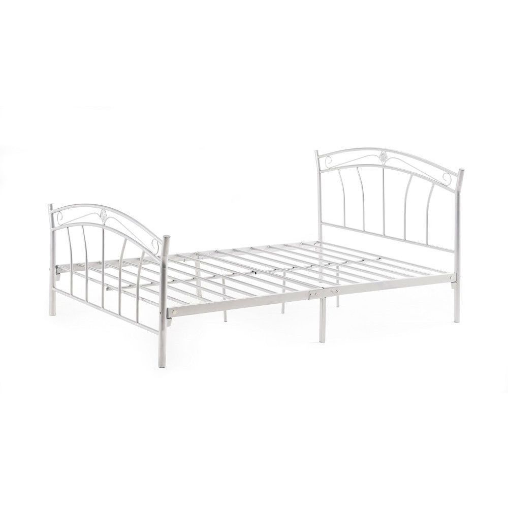 Twin Sturdy White Metal Platform Bed Frame with Headboard and Footboard