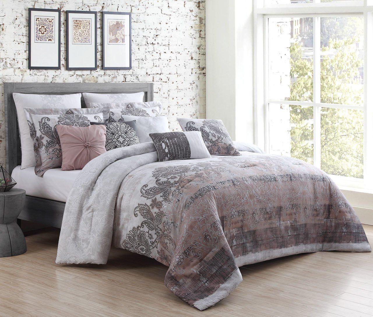 10 Piece Antonella Blush Charcoal Comforter Set Coverlet Set King Quilt Sets Quilt Sets