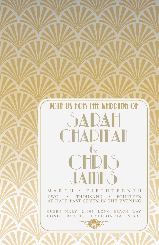 Große Gatsby Einladung | Gatsby Stil Hochzeit, Babyparty, Prom,  Verlobungsfeier Von PlatinumShoppette Auf Etsy ...