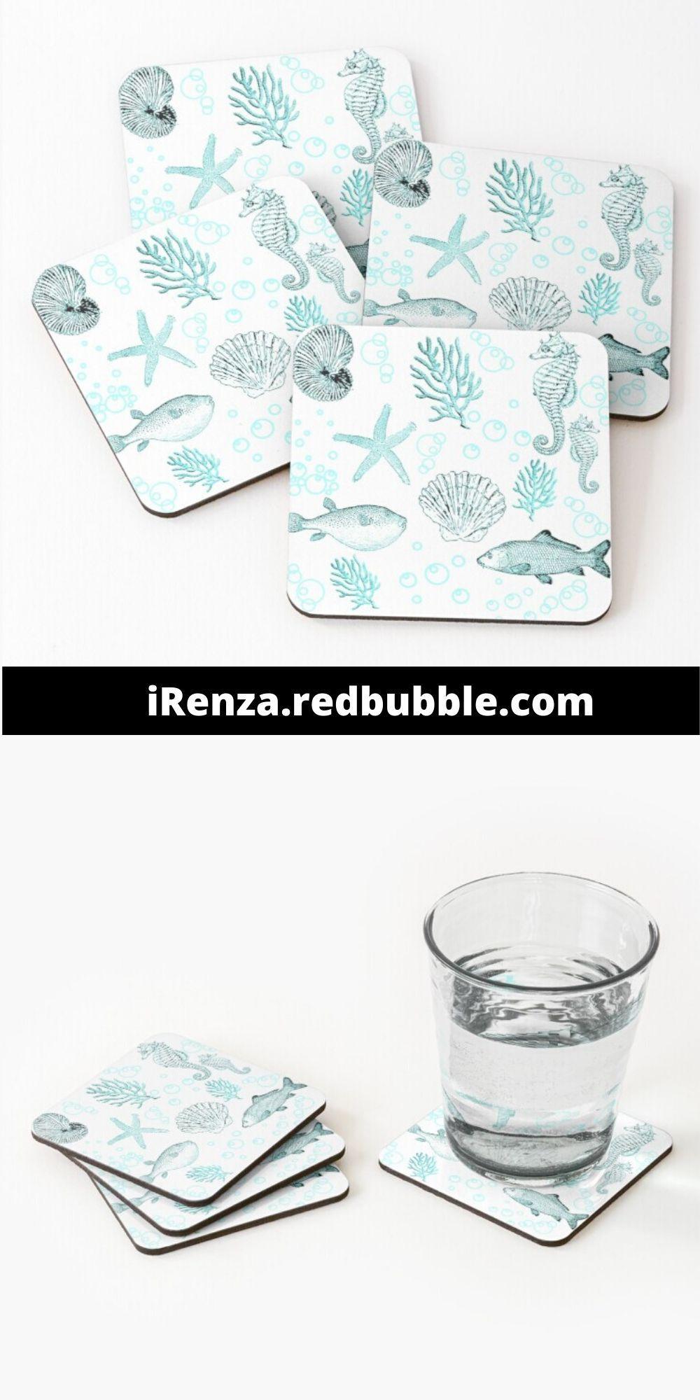 'Sea life' Coasters by iRenza. #coasters #homeaccessories #coastaldecor #homedecoraccesssories