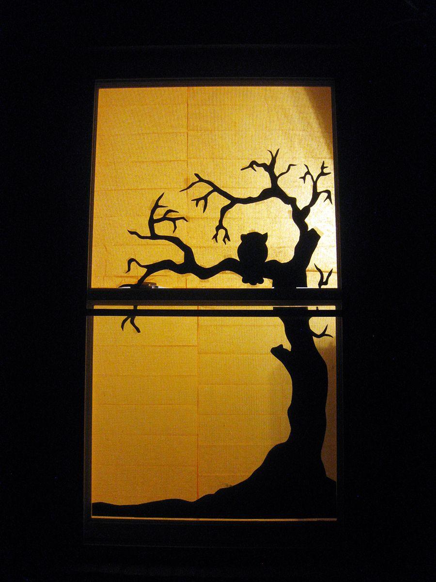 Halloween Tree Window Silhouette Halloween Window Halloween