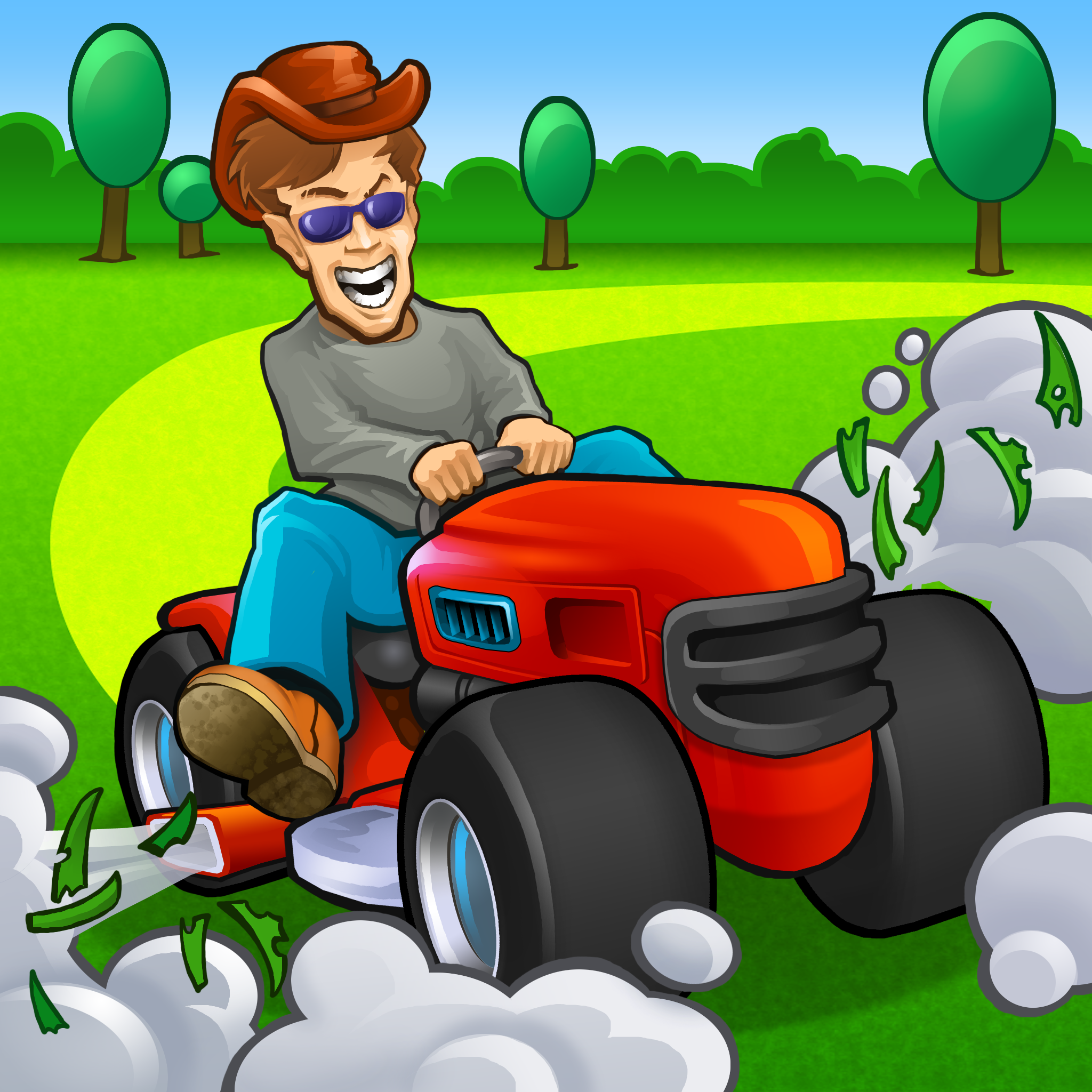 Riding Lawn Mower Cartoon Yard Lanscaping Idas