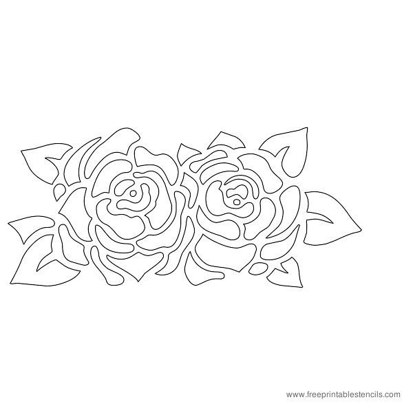 graphic relating to Flower Stencil Printable identified as Printable Rose Flower Stencil  roses Stenc