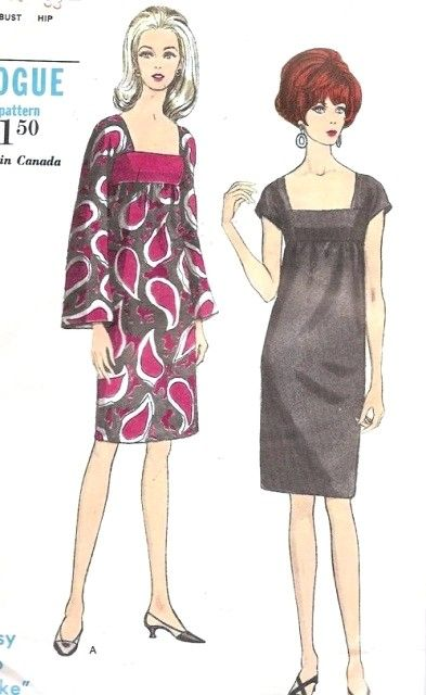 1960s Cocktail Dress Pattern Easy To Make Vogue 6934 Stunning Empire Low Cut Square Neckline Slim Perfect Little Black Dress Bust 31 Vintage Sewing Pattern