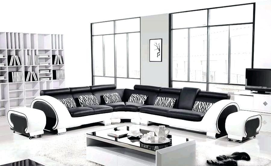 Modern Black And White Sofa Free Shipping Large L Shaped Genuine