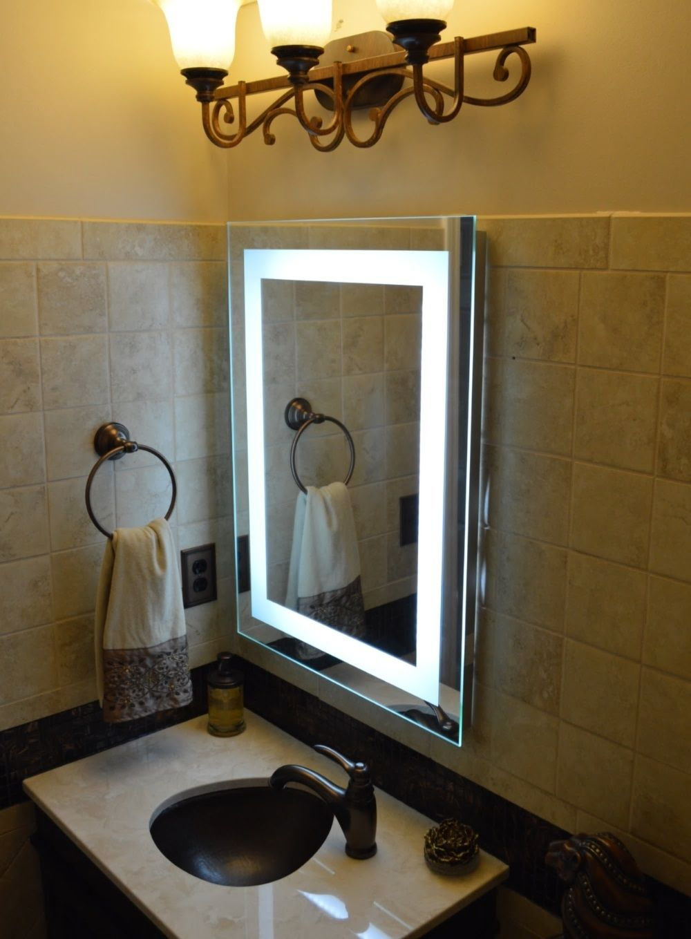 Big Vanity Mirror With Lights Extraordinary Big Wall Mounted Mirrors  Httpdrrw  Pinterest  Wall Mounted Design Inspiration