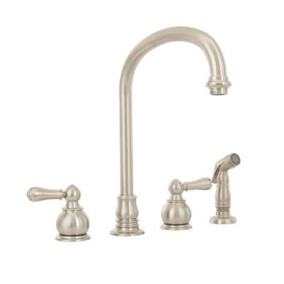 American Standard Hampton 2 Handle Standard Kitchen Faucet With Side