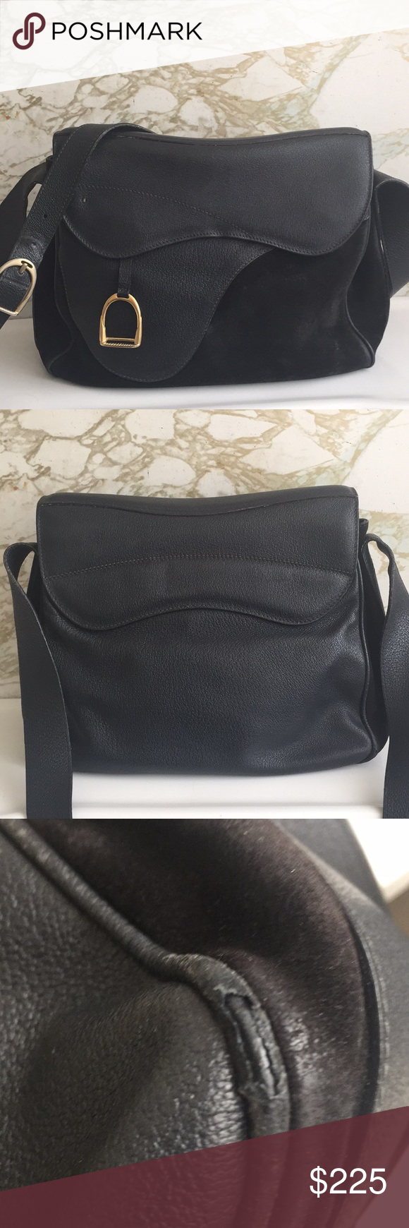 5fb39b4dc8b0 Gucci vintage saddle equestrian bag #001-58-1563 This bag is awesome! It is  older and has wear as pictured. It is suede and leather with gold plated  stirrup ...