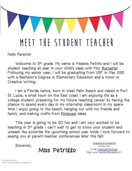 student teacher letter to parents - Google Search Student Teaching - internship thank you letter