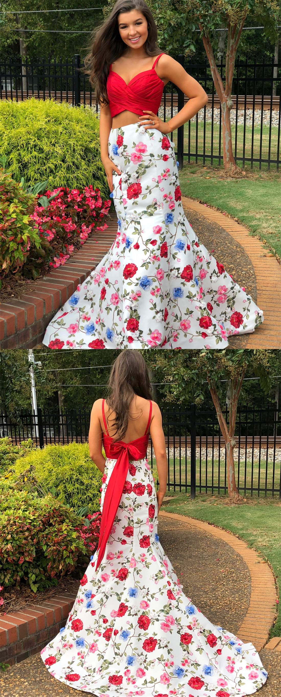 Two piece mermaid spaghetti straps floral red prom dress with