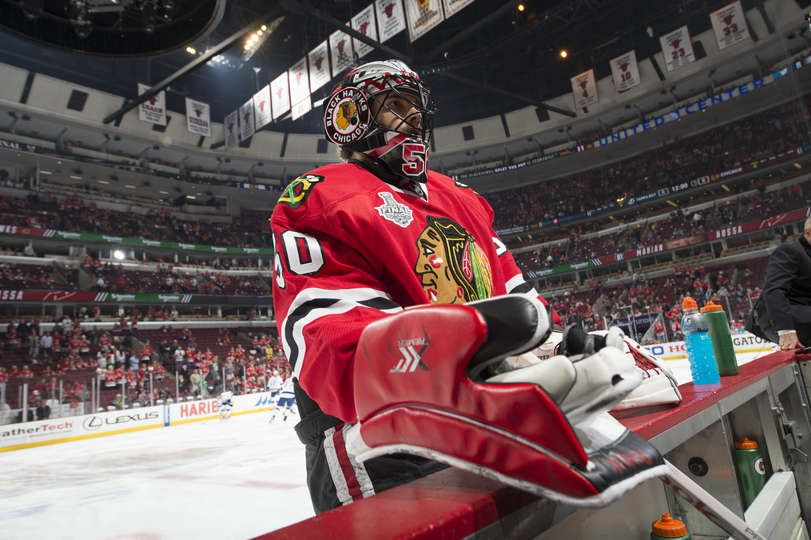 Chicago Il June 08 Goalie Corey Crawford 50 Of The Chicago Blackhawks Warms Up Prior To The Start Chicago Blackhawks Hockey Chicago Blackhawks Blackhawks