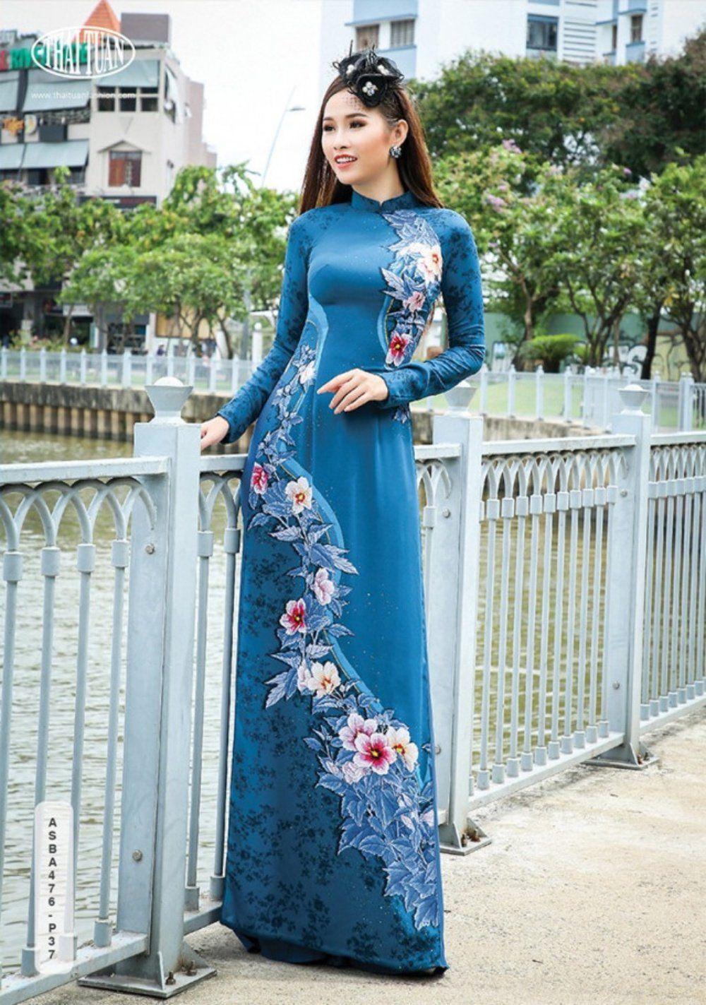 Custom made ao dai dress with pants. Vietnamese